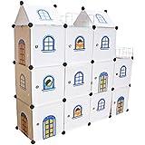 Niños Castillo de almacenamiento - Estantería infantil Cajas Armario niños Cajas para juguetes Biblioteca del organizador del hogar - Castillo Cubos 11 (Blanco)