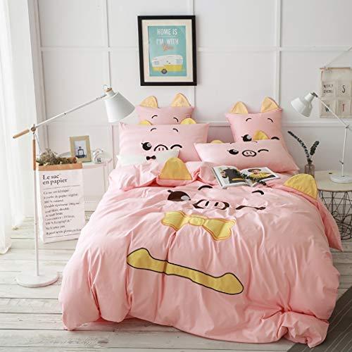 G'z Rosa Bettbezug Set 4PCS Schwein Bettlaken Bettwäsche Set Bed Covers 2 Kissen Shams Keine Tröster Kinder 100% Baumwolle Bettbezug mit Reißverschluss Tagesdecke Bettdecken Bett Set Tier -