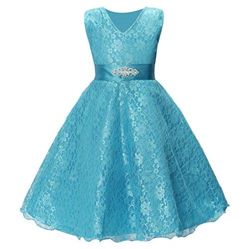 tzen Gaze Kleid, DoraMe Baby Mädchen ärmellose Prinzessin Formelle Kleid Länge Partei Hochzeit Brautjungfer Kleid (Blau, 6 Jahr) (Twin-kostüme)