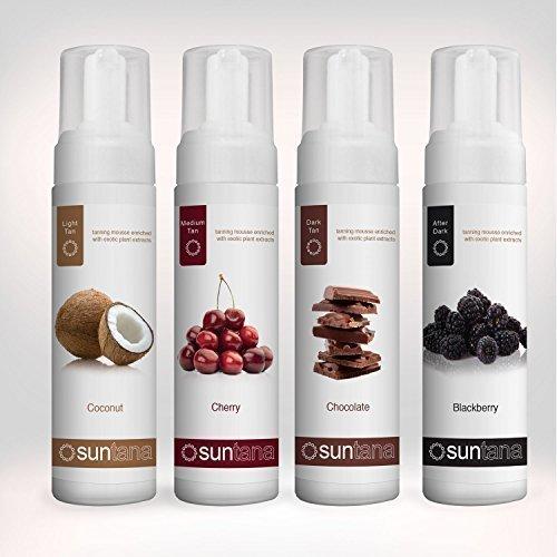 Suntana spray abbronzante confezione multipla profumato autoabbronzante mousse - 4 confezioni - completa gamma leggero, medio, scuro & after dark