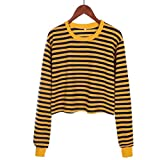 Damen Langarmshirt,Mode Streifen Shirt Pulli Sweatshirts Loose Langarm T-Shirt Basic O-Ausschnitt Langarm Bluse zum zelten von ABsoar