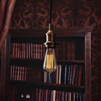 Elfeland ® E27 Loft Vintage Ceiling Light Holder-Retro Antique Edison Hanging Lamp Ornaments-Modern Chic Industrial Lamp Socket-3-Line Socket Fabric Lines(Without bulb)-Pendent Light Wall Scone DIY by Elfeland
