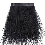 Orlo con frange in piume di struzzo, lunghezza: 1,8m, per abiti, cucito, fai da te, decorazioni e travestimenti Nero