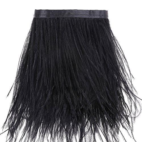 VoilaLove Straußenfedern Borte Fransen mit Satinband - zum Nähen von Kleidern Basteln Kostüme Dekoration, 185cm (Schwarz) (Schwarze Kleid Straußenfedern)