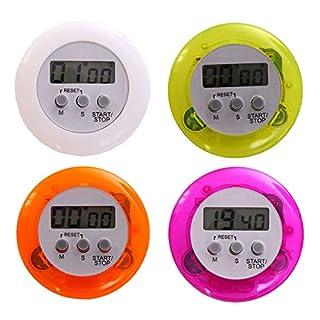 C16 Küchentimer Stoppuhr Eieruhr Küchenuhr Kurzzeitwecker Alarm mit Magnet Clip, LCD Display, Messzeit von 1sec bis 99 Minuten, Gewicht: 28g, Grün, Lila, Orange Oder Weiß