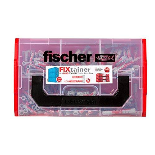fischer FIXtainer DUOPOWER Tiefenbiss-Box, Dübelbox mit 210 Dübeln (80 Stk. 6 x 30, 40 Stk. 6 x 50, 60 Stk. 8 x 40, 30 Stk. 8 x 65), Dübelkiste mit Tragegriff & Klicksystem, ohne Schrauben