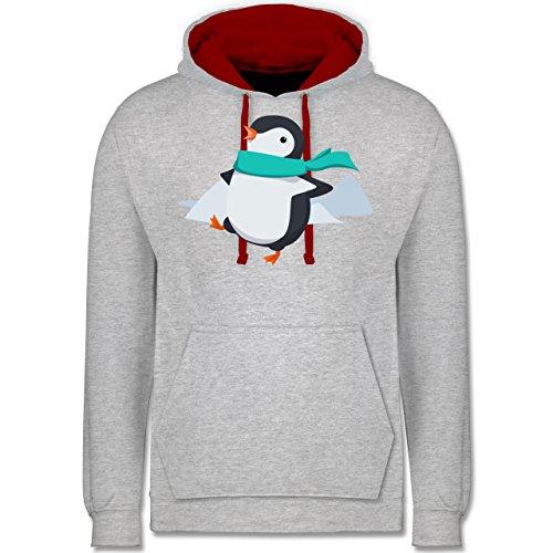 Wildnis - Happy Pinguin - Kontrast Hoodie Grau Meliert/Rot