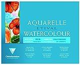 Clairefontaine 96454C Aquarellblock Etival (4-seitig verleimt, 25 Blatt, 200g, für alle Nasstechniken geeignet, feinkörnig, 100% Zellulose, 24 x 30 cm) weiß