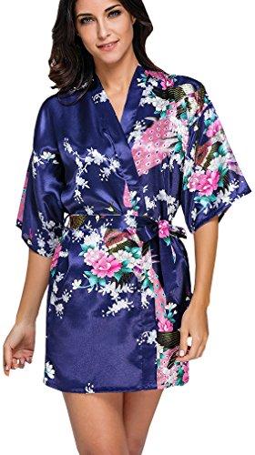 FLYCHEN Damen bunt satin Nachthemden japanische Kiminos Frauen Schlafanzug Dunkelblau S