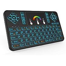 QQPOW Teclado inalámbrico, colorido teclado retroiluminado inalámbrico Mini, portátil con ratón Touchpad para Android TV Box, PC de Windows, HTPC, IPTV, Frambuesa Pi, XBOX 360, PS3, PS4.