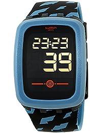 Swatch Touch petrozero2 negro Dial silicona correa Unisex Reloj svqb100