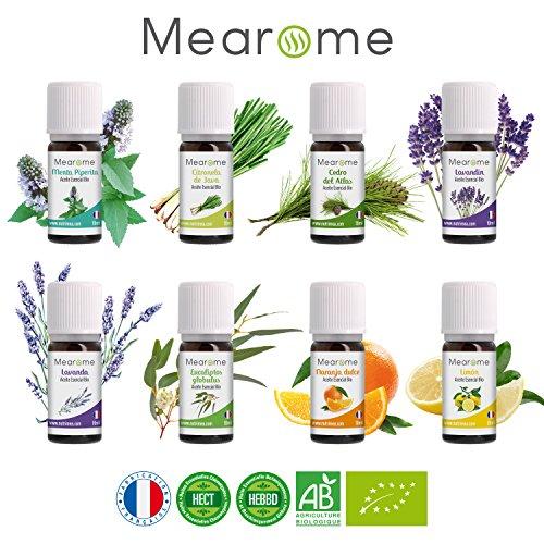 MEAROME® Aromaterapia • Set Premium Plenitude 8 Aceites Esenciales Bio 10ml • 100% Puro & Natural • Diferentes Aromas • Aceites Esenciales Terapeutico Quimiotipados HEBBD • Fabricado en Francia