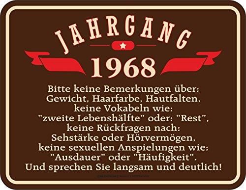 Original RAHMENLOS® Blechschild zum 50. Geburtstag: Jahrgang 1968