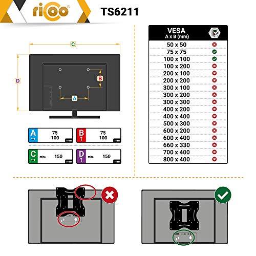 RICOO Tischhalterung für 2 Monitore TS6211 Monitorhalterung Schwenkbar Neigbar Schreibtisch Monitorständer Tischklemme Bildschirmständer Monitorhalterungen für 2 Monitore VESA 75×75 & VESA 100×100 - 6