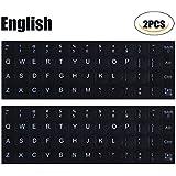 CaseBuy [2PCS PACK]Universal English Keyboard Stickers, Black Background with White Lettering Keyboard Sticker for Computer Laptop Notebook Desktop Keyboards(English)