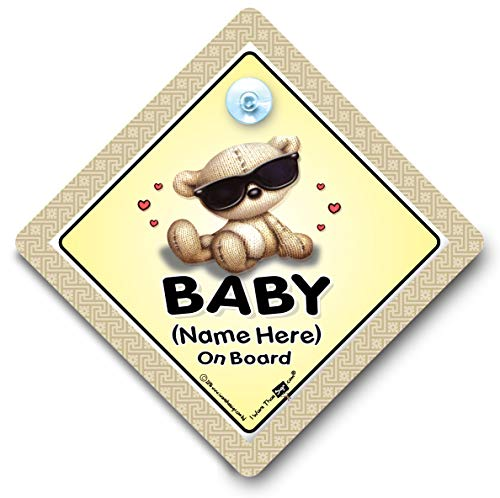 Baby On Board Shades Personalisierter Autoaufkleber, Baby on Board Schild Stil, Wir Fügen alle Namen, Ihre eigene benutzerdefinierte Custom Baby on Board Sign, Baby on Board, Baby an Bord Zeichen, personalisierbar Auto Zeichen, Custom Bumper Sticker Style, personalisierbar KFZ Schilder, Enkelkind On Board Auto Schild