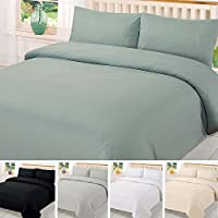Brentfords Plain Duvet Cover with Pillowcase Bedding Set Single Double King Superking