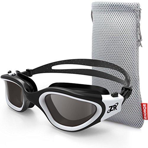 ZIONOR Polarisiert Schwimmbrille für Herren und Damen, G1 Schwimmbrille mit Spiegel/Rauch Linse UV-Schutz Anti Nebel Verstellbar Gurt Komfort Profi Schwimmbrillen für Erwachsene Jugendliche Unisex