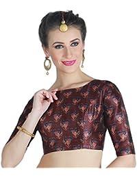 Studio Shringaar Women's Poly Silk Digital Printed Saree Blouse With Boat Neck.