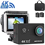 "Muson 4K WIFI Action Camera 2. 0"" Screen 12MP F/2. 4 170 Degree Wide Angle 30M Waterproof Sports DV With 2. 4G Remote Control And 19 Accessories Kits"
