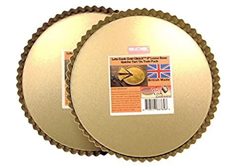 Lets Cook 22,9cm quiche, Tarte, Moule à flan Vaisselle, Twinpack, Base amovible, Doré GlideX antiadhésif TM, British Made, 24cm