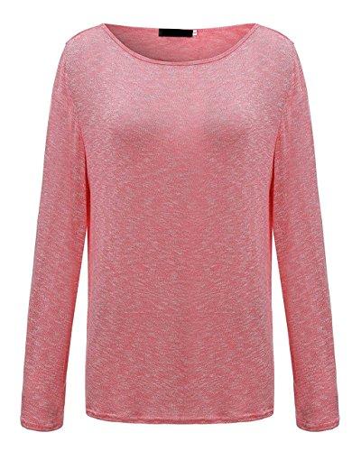 ANDERINA New Damen Pulli Langarm T-Shirt Rundhals Ausschnitt Lose Bluse Langarmshirts Hemd Pullover Oversize Sweatshirt Oberteil Tops Shirts Rosa