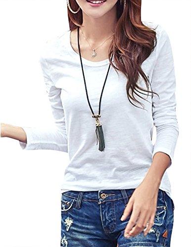 Gladiolus Donna Maglie a manica lunga Camicetta Maglia Maglietta Casual Girocollo T Shirt Bianco