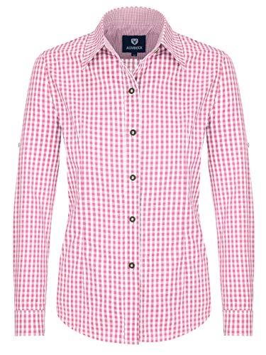Almbock Trachten-Bluse Damen kariert oder weiß | Viele Modelle von Größe 34-44 in rot, dunkelblau, lila, beere, grün, pink (46, Pink)