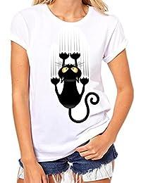 Ansenesna Mujeres Niñas Plus Size Impresión Camisetas Manga Corta Algodón Camiseta ...