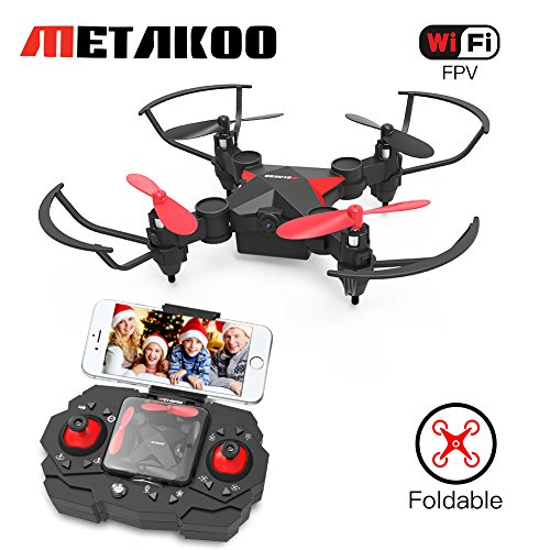 Metakoo Mini Drone APP Wifi FPV RC Quadrocopter Plegable con 0,3 MP HD Cámara Altitud Mantenga Control Headless Modo (Negro)