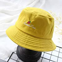 GFF Sunhat solid color hat female embroidery strawberry fishing hat summer sunscreen visor hood visor fashionable unisex funny bucket cap outdoor cap bucket hat