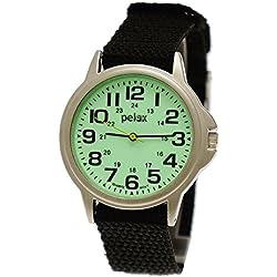 NY London Women/Men/Child Nylon/Textile Night Glow Watch with Luminescent Dial + Watch Box