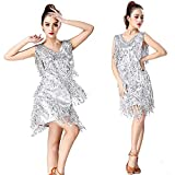 Abiti da ballo latino da donna con nappa Donne Dancewear Metallic Paillettes  con frange di paillette 45d1c1d7398
