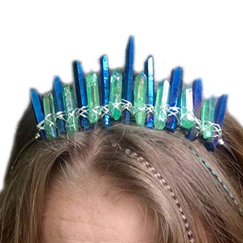 VIccoo Handmade Coated Faux Raw Crystal Stirnband Crown Frauen Mädchen Braut Hochzeit Haarband Holographische Kontrast farbigen Schmuck Headwear - Tiefes Blau (Raw-kristalle Große)