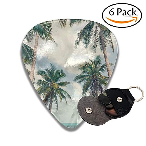 Beautiful Beach View Of Nice Tropical Beach With Palms Around Holiday And Vacation Concept Stylish Celluloid Guitar Picks Plectrums For Guitar Bass 6 Pack.96mm