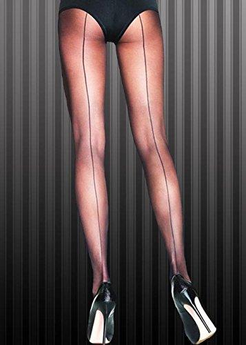 Flapper Girl 1920er Jahre schwarz Sheer Nahtnylons Strumpfhosen