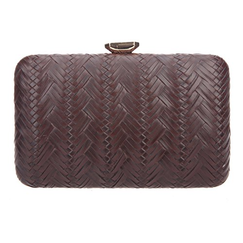 Bonjanvye Big Man Made Diamond PU Leather Weave Evening Bags And Clutches For Women Gold chocolate