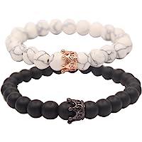 UEUC Distance Couple King & Queen Crown Armbänder Seine Freundschaft 8mm Perlen Bangle Armband