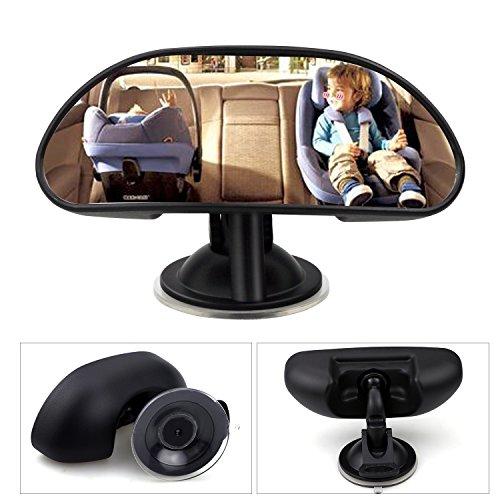 WisFox Espejo retrovisor bebé para Vigilar al Bebé en el Coche,360° Ajustable Irrompible espejo para vigilar al bebé en el coche asientos de niños orientados hacia atrás