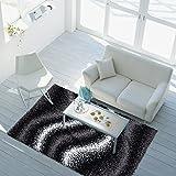 ayshaggy Teppich Shaggy-Design Hochflor Langflor mit Wellen-Muster für Wohnzimmer/Schlafzimmer in Grau/Schwarz/ Weiß, Größe: 160 x 230 cm