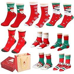 Calcetines de invierno, Fixget 8 pares de calcetines cálidos suaves para la familia, los niños de invierno calcetines mujeres hombres vestido casual equipo calcetines coloridos Pack Vestido de Navidad