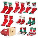 Fixget Calzini invernali, 8 paia calze calde morbide per la famiglia, i bambini calzini invernali donne abbigliamento uomo casuale equipaggio colorato calzini Pack Dress calze di Natale, meglio per i