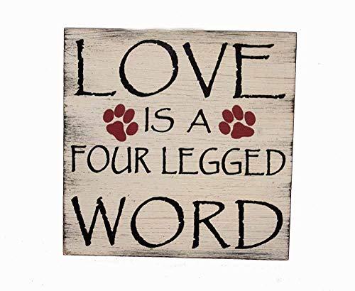 OBI Love is a Four Legged Word Wandschild 17,8 x 17,8 cm Home Decor Schild - tolles Geschenk für Katzenliebhaber/Besitzer