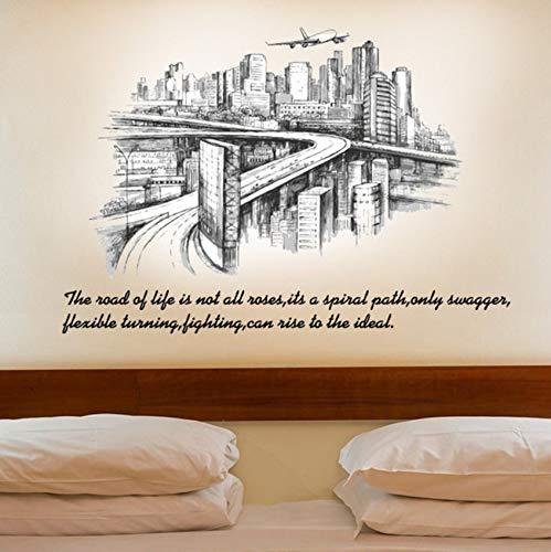 Xbwy Einzigartige Stadt Skizze Silhouette Wohnzimmer Hintergrund Wand Dekoration Entfernbare Wandaufkleber Wand Zimmer Dekoration 60X90 Cm