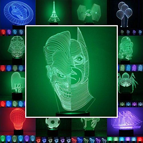 3D Lampe 3D Leuchte 3D LED Stimmungslicht. 7 Farben - Auswahl aus 81 verschiedenen Motiven,hier Batman & Joker ca.25x13cm inkl.Sockel - 3D Illusion Dekolicht mit USB Anschluß und 220V USB Netzteil