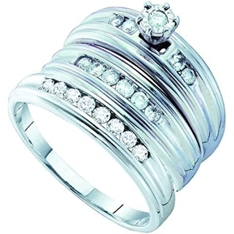 Diamante wedding-set 0,54ct Diamante Rotondo Centro Trio Set tr1016/W Dimensioni o