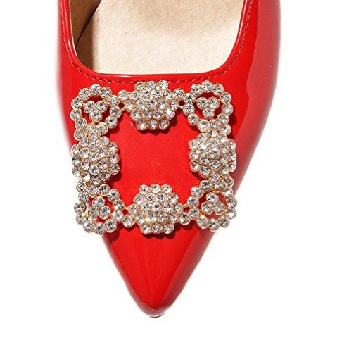 VogueZone009 Damen Eingelegt Pu Leder Mittler Absatz Spitz Zehe Ziehen Auf Pumps Schuhe Rot