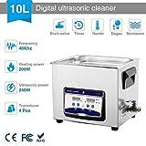 Ultrasonico Gioielli 240W addetto alle pulizie con Digitale Timer Inossidabile Acciaio 10L per Pulizia Bicchieri dentiera Orologi 110V-240V-10L