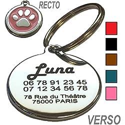 Médaille Chien et Chat Patte - Gravure Offerte - 5 Couleurs au Choix - Produit Français (Rose)