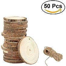 ULTNICE Parti di legno in faggio Dischi fatti a mano rotonda Parti di legno prefabbricate non finite Fai da te artigianato 3-4CM con pacco di jute di 50